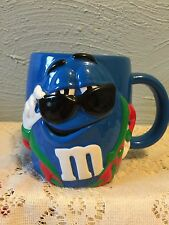 LARGE M&M MUG GALERIE CERAMIC CHARACTER BLUE SUNGLASSES with Christmas Sweater