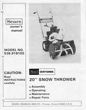 "Sears Murray 20"" snow thrower blower model 536.918100 owner's manual circa 1980"