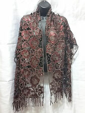Brown Rose Sequin Lace Flower Floral Scarf Evening Shawl Wrap Long Stylish NEW