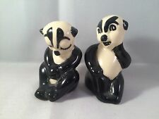 Panda Bear Set Salt Pepper Shakers 3 Inches Help Figurine Collectible Vintage
