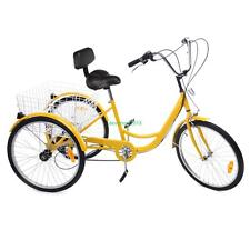 "6-Speed 24"" Adult 3-Wheel Tricycle Bicycle Trike Cruise Bike With Basket Yellow"