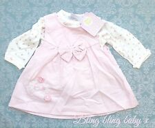 Baby Girls Pink Traditional Pinafore Dress, Blouse 2 Piece Set 6-9 Months