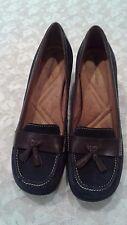 Women's Naturalizer FyreTassel Blue/Brown Leather/Suede Loafer Heels - Size 9.5M