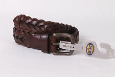 $45 Fossil Men`s Leather Tyler Braided Belt 32 Brown NEW