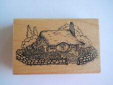 Embossing Arts Rubber Stamp Cottage Stone Fence Flowers-Gently Used