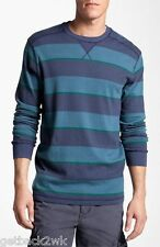 NEW QUIKSILVER MENS L L/S T SHIRT TOP Sweater $50 Retail Green Blue Stripes