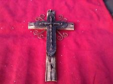 WOODEN CROSS COWHIDE WESTERN DECOR ARTS CRAFTS  LEATHER RA6755