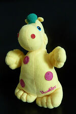 95/ DOUDOU PAMPERS - DRAGON TIMOTHY - 21 cms JAUNE VERT POIS ROSE GRELOT - TBE !