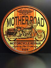 Mother Road Motorcycle Repair Route 66 Round TIN SIGN  Garage Vtg  Wall Decor