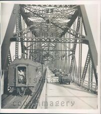 1940 US Military Jeeps Train Cross Mississippi River at Vicksburg  Press Photo