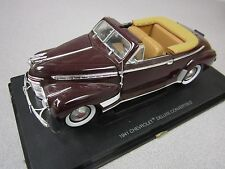 1941 Chevy Deluxe Convertible Burgundy Scale Model Fairfield Mint Almost 11 In.
