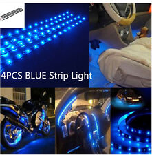 4PCS 15 30CM BLUE Color Waterproof Car Lighting Flexible Strip Light for Motor