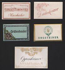 5 Etiketten für Wein von ca. 1920 / étiquette de vin / wine label / # 1596