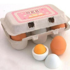 Educational Kid Pretend Play Toy Set Wooden Eggs Yolk Kitchen Cooking New