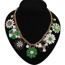 Gold Chain Colourful Flower Beads  Choker Chunky Statement Bib Collar Necklace