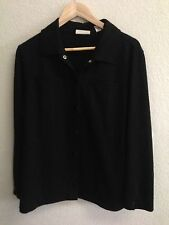 Marsh Landing Black Knit Snap Up Shirt Size M