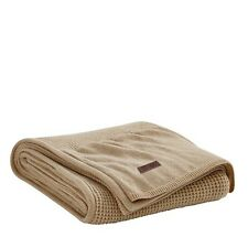 RALPH LAUREN PIQUE Travel BLANKET CASHMERE Heathered CAMEL Retail $355- New