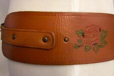 MARC JACOBS Wide Brown Leather Embossed Studded Lowslung Belt