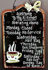 Black Sign COFFEE CUP Kitchen Operating Hours Country Wood Wall Hanger Decor