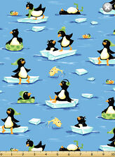 """Susybee's Penguins at play Blue 100% cotton 42"""" X 36"""" fabric by the yard"""