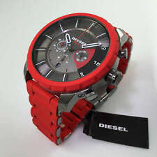 BRAND NEW DIESEL DZ4384 STRONGHOLD RED RUBBER STRAP BLACK CHRONO DIAL MENS WATCH