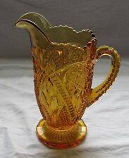EARLY AMERICAN GLASS AMBER WATER MILK PITCHER STAR AND BARS