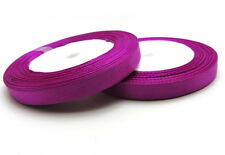 """New  3/8"""" 25Yards Solid color Satin Ribbon Craft For Weddin Party Purple Rose"""