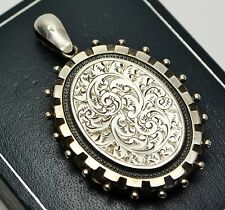 LARGE 1881 Antique STER SILVER Foliate Engraved & Beaded Edge Victorian LOCKET