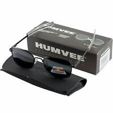 Humvee Military Pilot Black Frames 52mm Sunglasses Metal Matte Polarized