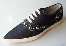 new $550 MARC JACOBS collection STUDDED DENIM sneakers athletic flat shoes 37 7