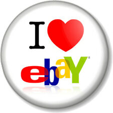 "I Love / Heart eBay 1"" Pin Button Badge Auction Site Bidding Shopping Buying Fun"