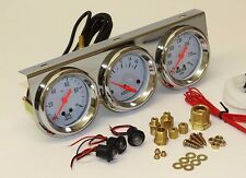 TRIPLE GAUGE CHROME VOLT AMP WATER OIL PRESSURE WHITE FACE VALIANT MOPAR CHEV