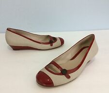 Womens Cole Haan Nike Air Elly Low Wedge Mary Jane Shoes Sz 7 1/2 Tan & Red