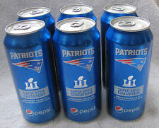 "Full ""6 Pack"" 2017 New England Patriots Super Bowl LI Champions 16 Oz Pepsi Cans"