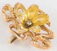 ANTIQUE 14K GOLD ART NOUVEAU FLOWER BROOCH w DAMOND- Watch or Locket Holder