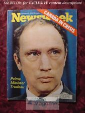 NEWSWEEK November 2 1970 11/02/70 CANADA IN CRISIS TRUDEAU DELAWARE Pollution