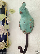 Bird Hook Duck Egg Blue Retro Exotic Parrot Shabby Chic Vintage Coat Key Storage
