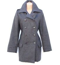 Grey Wool Mix Tweed JSFN Fitted Hip Length Ladies Women's Pea Coat size UK 14 16