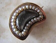 EYE - CRESCENT MOON - GEORGIAN early VICTORIAN SEED PEARL MOURNING BROOCH PIN