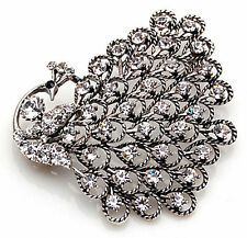 Luxury Vintage Peacock Distinctive Rhinestones Corsage Bridal Brooch Pin BR192