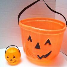 OLDER Halloween Pumpkin Jack Lantern Trick TREAT BUCKET BlowMold w/BONUS MINI