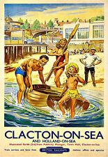 Art Ad Clacton on Sea Holland On Sea Railway  Rail Travel  Deco   Poster Print