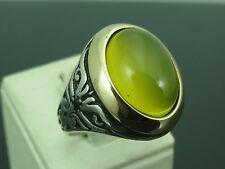 Turkish Handmade Ottoman Style 925 Sterling Silver Agate Stone Men's Ring Sz 11