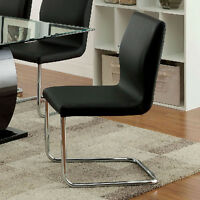 Lodia Modern Set of 2 Dining Side Chairs Black Padded Leatherette Chrome Legs