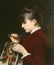 Hand painted Oil Charles Robert Leslie - Young woman wearing red cloth sewing
