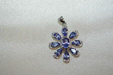 GENUINE TANZANITE PENDANT WHITE CZ 925 SILVER FLOWER BEAUTIFUL