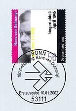 BRD 2002: Hans von Dohnanyi  Nr. 2233 mit Bonner Ersttags-Sonderstempel! 1A!