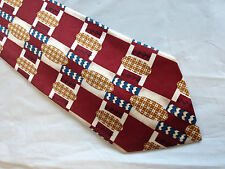 Mens Red White Brown SILK Tie Necktie ALDO CONTI~ FREE US SHIP (8555)