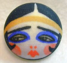 """1920s Flapper Girl Button Hand Printed Fabric """"Triste """""""