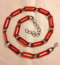 "VINTAGE Necklace Belt Faux TORTOISE SHELL Flapper Chain Link 38"" Long"